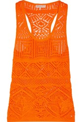 Emilio Pucci Crochet Knit Cotton Blend Tank Bright Orange