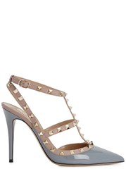 Valentino Rockstud 100 Grey Patent Leather Pumps