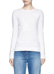 Valentino Beaded Butterfly Applique Cable Knit Sweater White