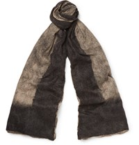 Balenciaga Brushed Cashmere And Silk Blend Scarf Gray