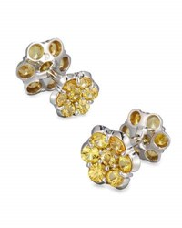 Bayco Platinum And Yellow Sapphire Floral Cuff Links