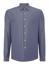 Peter Werth Tasker Polka Dot Slim Fit Long Sleeve Button Down Blue
