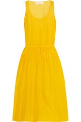 Diane Von Furstenberg Pleated Cotton And Silk Blend Gauze Dress Yellow