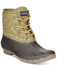 Sperry Women's Saltwater Duck Booties Women's Shoes Olive Quilted