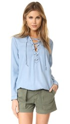 Glamorous Lace Up Henley Light Blue Chambray
