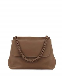 The Row Braided Top Handle 14 Leather Flap Top Shoulder Bag Khaki
