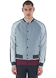 Lanvin Felted Baseball Bomber Jacket Grey