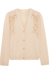 Chloe Crochet Paneled Cashmere Cardigan Cream