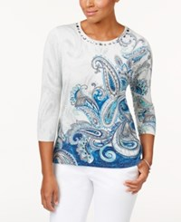 Alfred Dunner Petite Paisley Shimmer Embellished Sweater White Multi