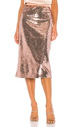 Cami Nyc The Connie Skirt In Metallic Copper. Rose Dust