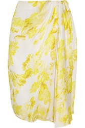 Giambattista Valli Floral Print Silk Chiffon Skirt Yellow