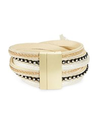 Design Lab Lord And Taylor Cross Strap Leather Bracelet Gold