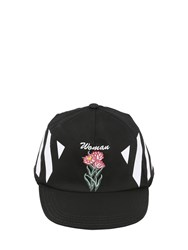 Off White Flower Embroidered Cotton Hat
