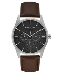Kenneth Cole New York Men's Brown Leather Strap Watch 42Mm