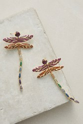 Anthropologie Dragonfly Drop Earrings Gold
