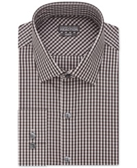 Kenneth Cole Reaction Slim Fit Performance Walnut Gingham Dress Shirt