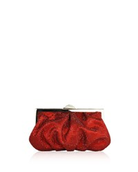 Judith Leiber Natalie Beaded Clutch Bag Red