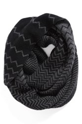 Halogen R Chevron Jacquard Wool And Cashmere Infinity Scarf Black