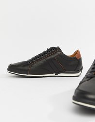 Boss Saturn Leather Trainer In Black