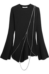 Givenchy Zip Detailed Asymmetric Ribbed Knit Sweater Black