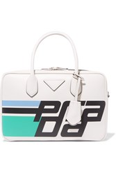 Prada Bauletto Printed Leather Tote White
