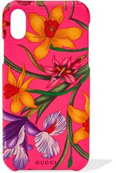 Gucci Floral Print Textured Iphone 10 Case Bright Pink