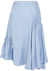 J.W.Anderson Asymmetric Striped Silk Crepe De Chine Skirt Sky Blue