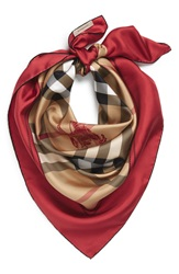 Burberry Horseferry Check Silk Square Scarf Bright Military Red