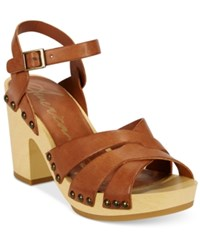 American Rag Cassidy Wooden Platform Sandals Only At Macy's Women's Shoes Cognac