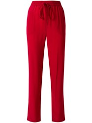 Red Valentino Drawstring Track Pants Silk Polyester Acetate Red