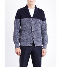 Brunello Cucinelli Two Tone Cotton Cardigan Navy Grey