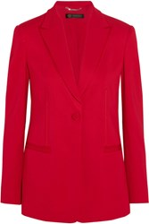 Versace Satin Trimmed Crepe Blazer Red