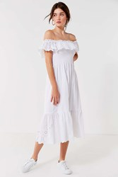 Urban Outfitters Uo Off The Shoulder Eyelet Midi Dress White