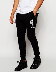 Religion Joggers With Large Skeleton Emroidery Black