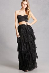 Forever 21 Tiered Floral Lace Maxi Skirt Black