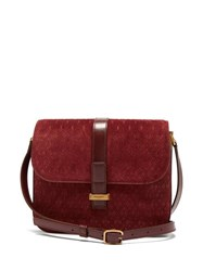 Saint Laurent Monogramme Suede Shoulder Bag Burgundy