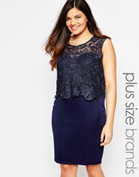 Club L Plus Size Dress With Crochet Overlay Navy