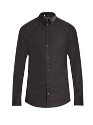 Dolce And Gabbana Gold Fit Embellished Collar Cotton Shirt Navy
