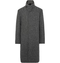 Issey Miyake Ribbed Knit Trimmed Silk Blend Tweed Overcoat Gray