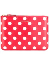 Comme Des Garcons Polka Dots Zipped Clutch Red