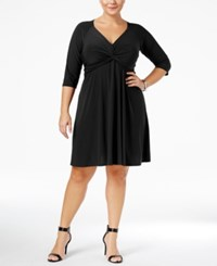 Love Squared Trendy Plus Size Knotted Fit And Flare Dress Black
