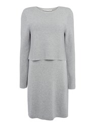 Oui Knitted Two Layer Dress Light Grey