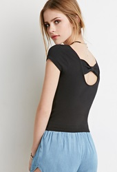 Forever 21 Bow Back Cutout Top Black