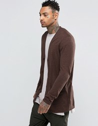 Asos Longline Cardigan In Navy And Tan Twist Cotton Navy And Tan Twist Brown