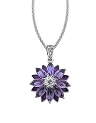Lord And Taylor Sterling Silver Necklace With Amethyst And White Topaz Flower Pendant