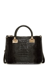 Carla Ferreri Croc Embossed Leather Handbag Black