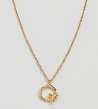 Bill Skinner Gold Plated Hexagon Bee Pendant Necklace