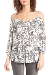 Women's Bp. Print Off The Shoulder Top White Sketched Floral Print