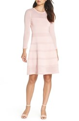 Vince Camuto Mix Stitch Pointelle Fit And Flare Dress Blush