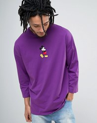 Asos Mickey Mouse Dropped Shoulder Oversized 3 4 Sleeve T Shirt Purple